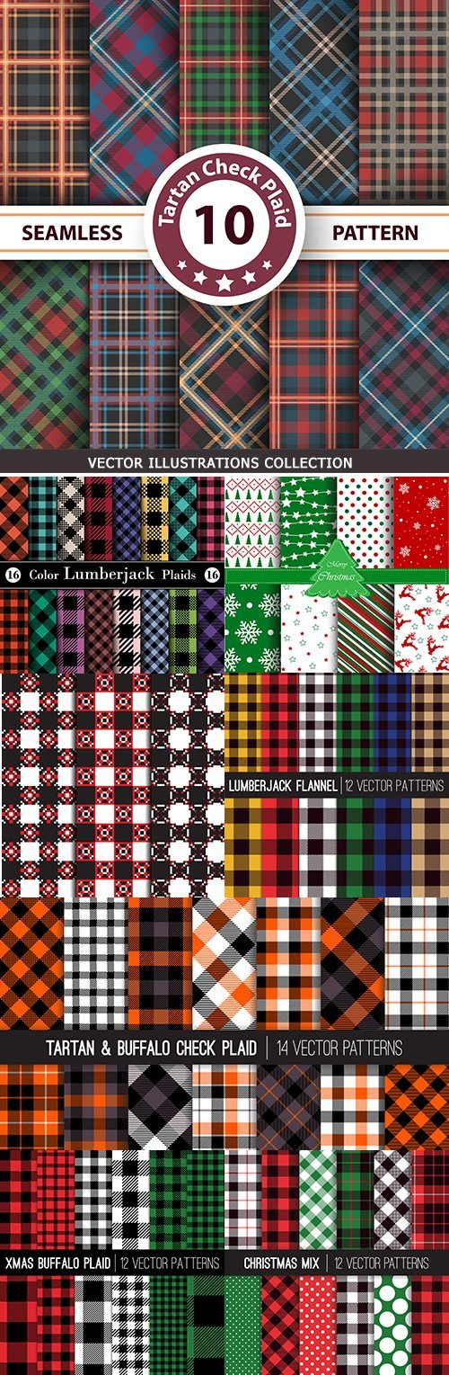 Merry Christmas decorative pattern checkered fabric