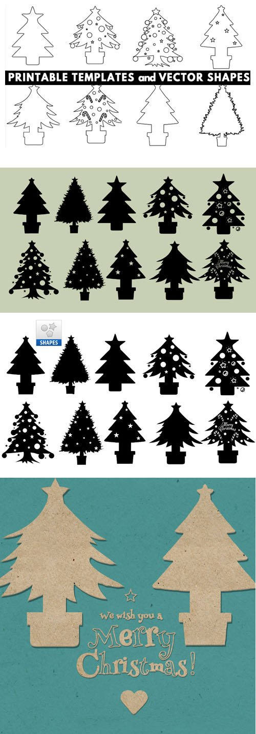 10 Christmas Tree Template Shapes for Photoshop