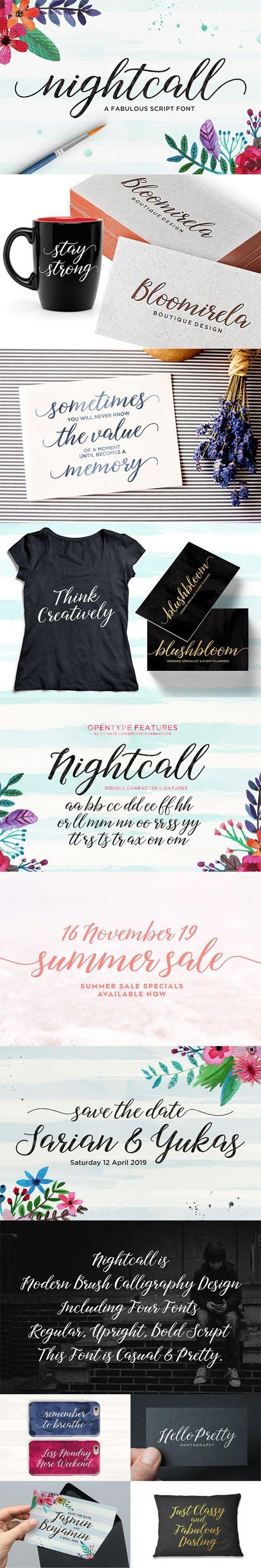 CM - Nightcall - Modern Calligraphy Script Font