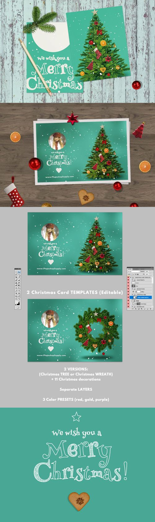 Christmas Card PSD Templates for Photoshop
