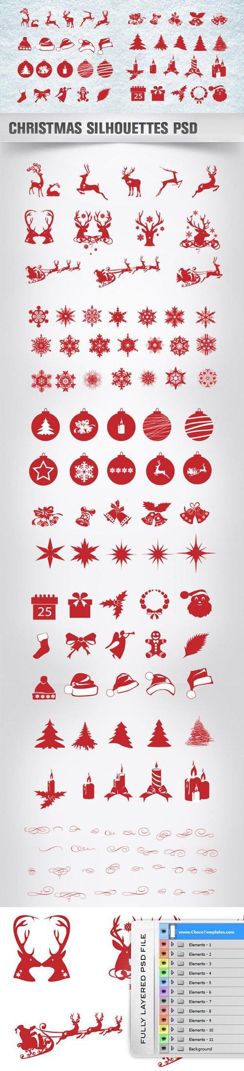 108 Christmas Silhouettes PSD Templates