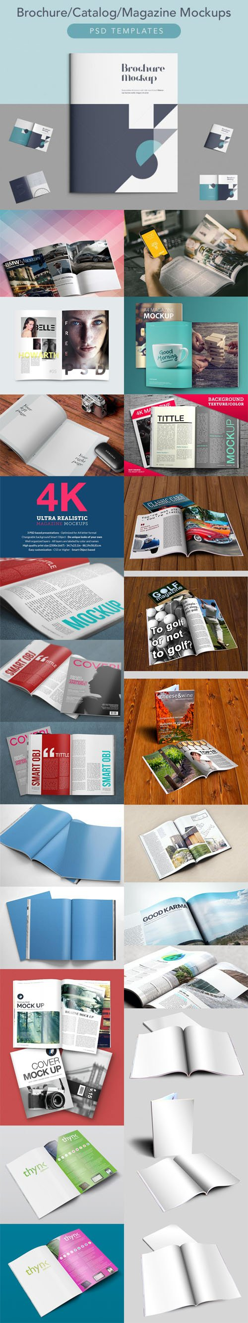 Photorealistic Magazine Design PSD Mockups Collection