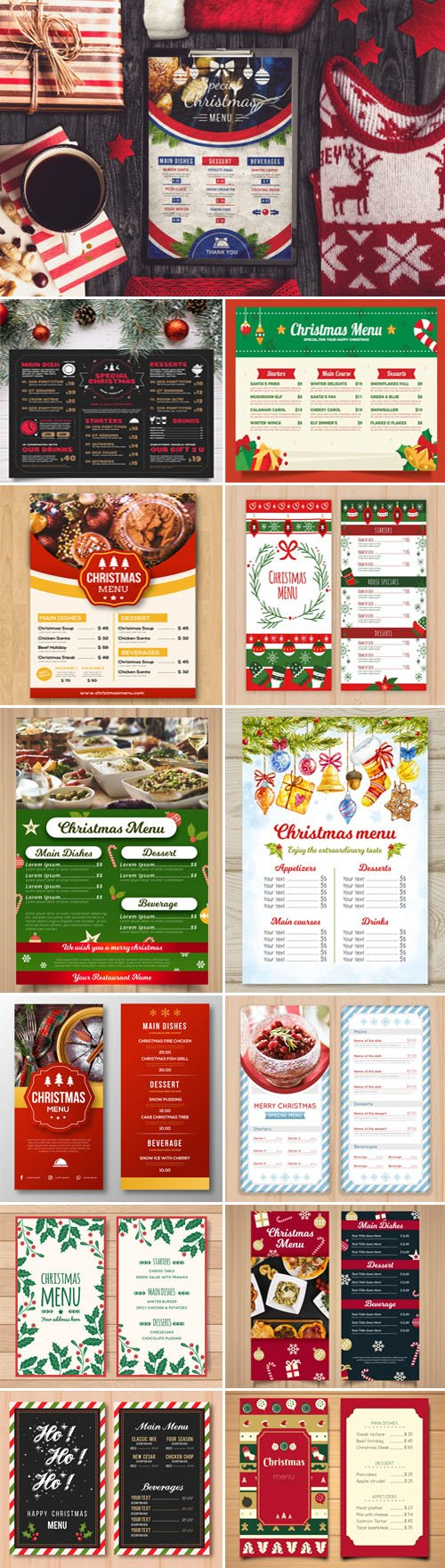 Christmas Menus Vector Templates Collection 1