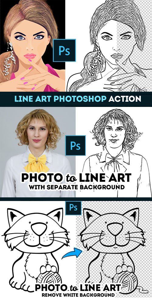 Line Art Photoshop Action - Seperate & Remove Background