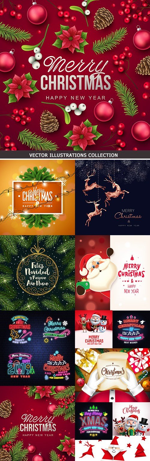 Happy Christmas collection background and elements 5