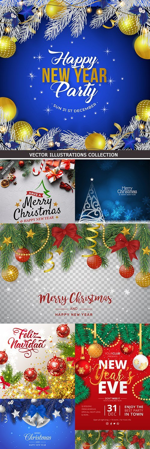 New Year and Christmas decorative registration backgrounds