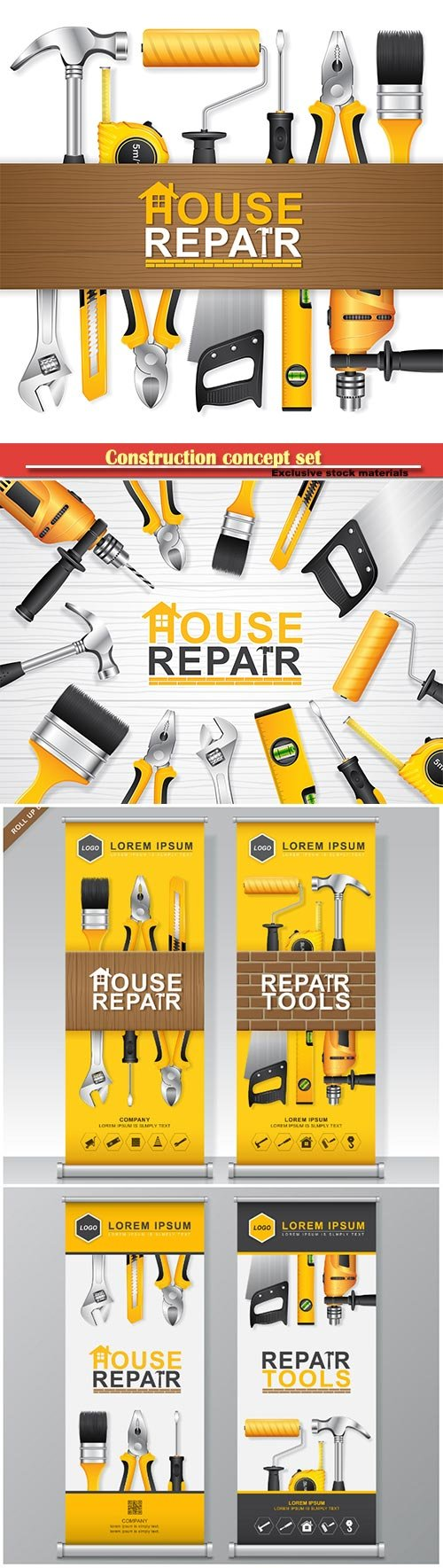 Construction concept set all of tools supplies for house repair builder