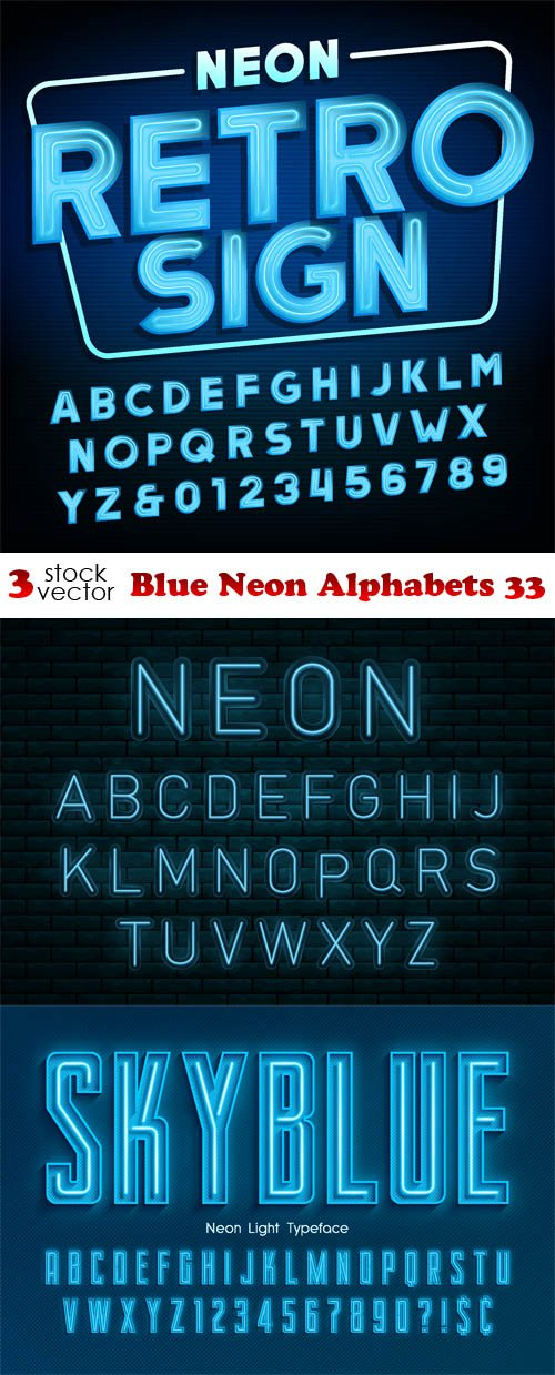 Vectors - Blue Neon Alphabets 33