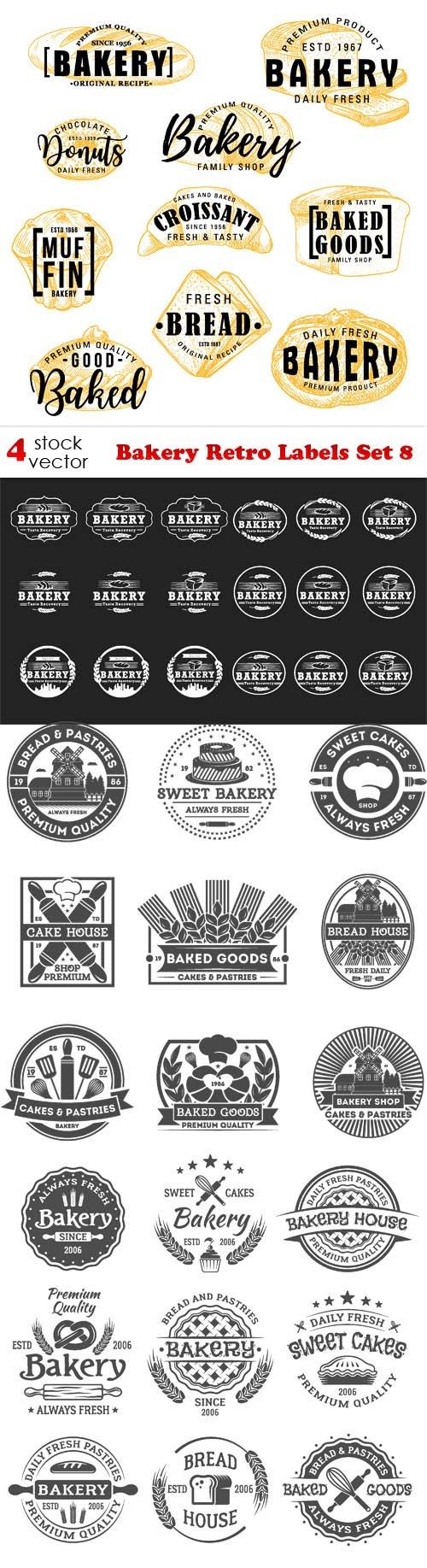 Vectors - Bakery Retro Labels Set 8