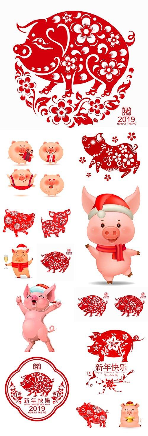 2019 Christmas Piggy cartoon character decorative design