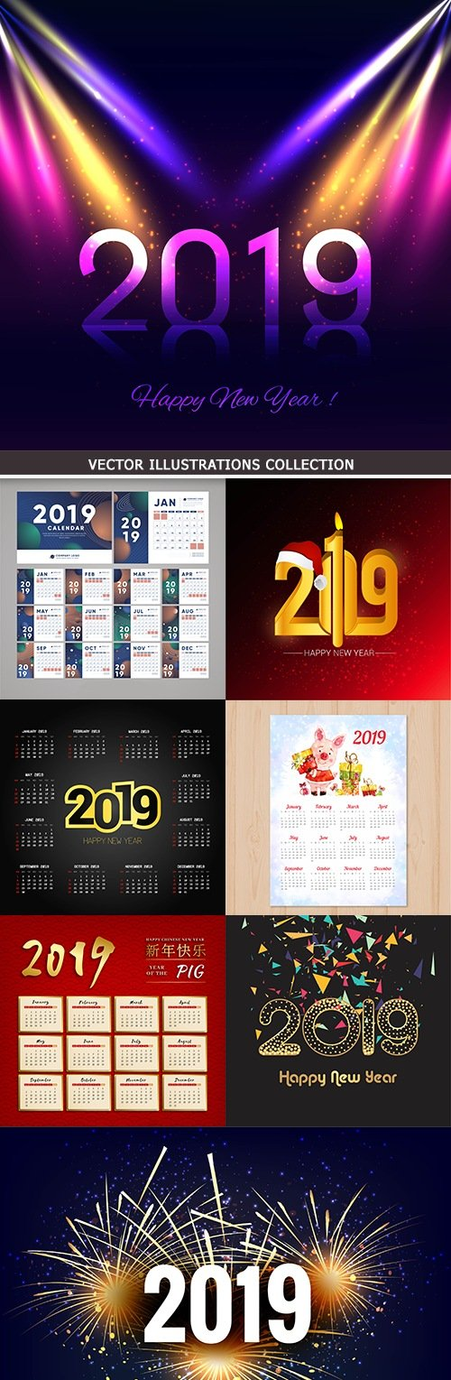 2019 New Year decorative inscriptions and calendar