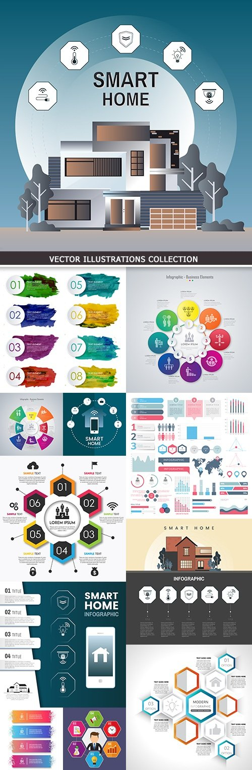 Modern infographics business options elements 25