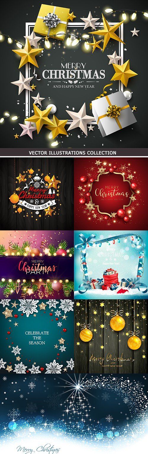 Merry Christmas and New Year decorative design elements 8