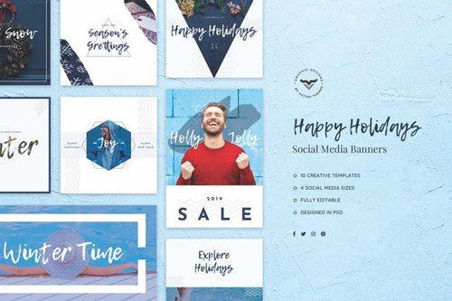 Happy Holidays Social Media Banners - DV375L
