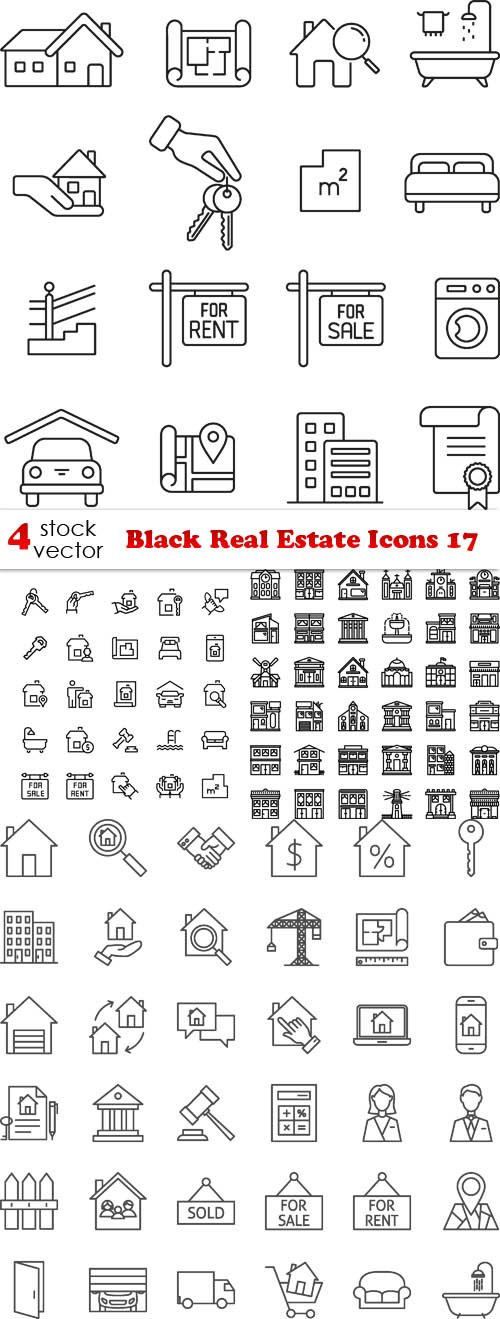 Vectors - Black Real Estate Icons 17