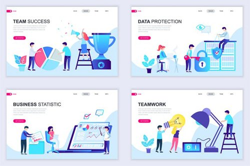 Set of Landing Page Templates Flat Concept - U4TAQG
