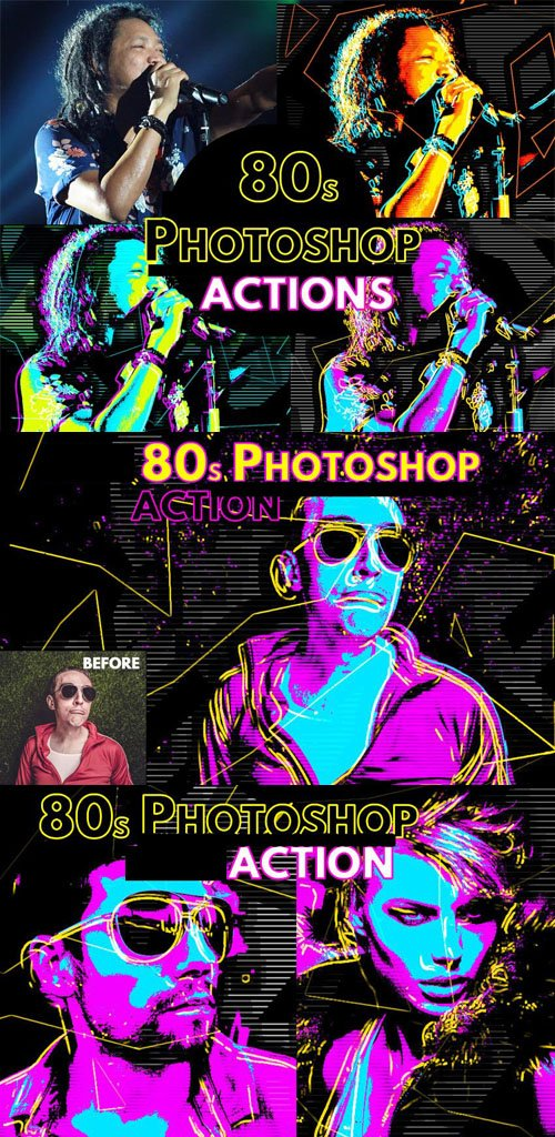 80s Retro Poster Action for Photoshop