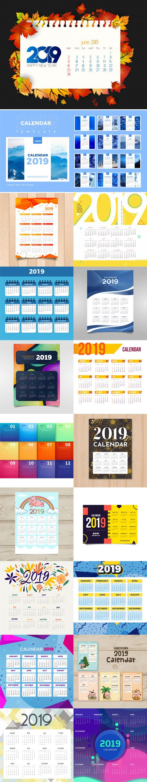 2019 Calendar Vector Templates Collection 5 [18 Calendars]