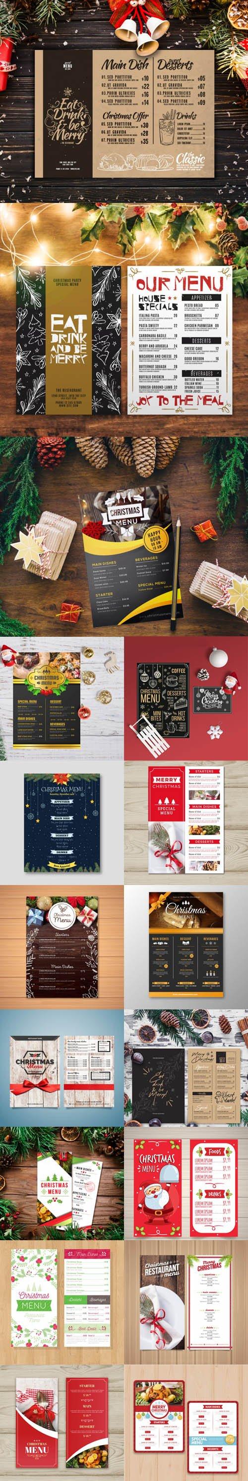 Christmas Menu Vector Templates Collection 2