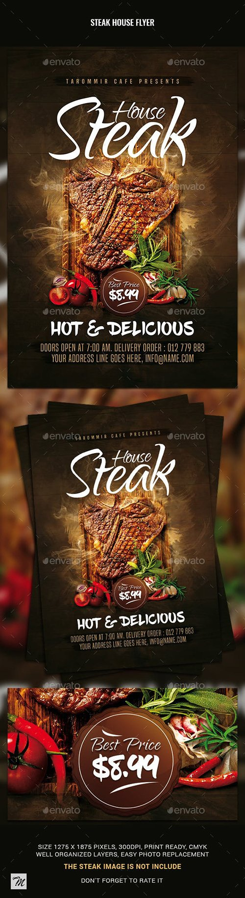 GraphicRiver - Steak House Flyer 23044824