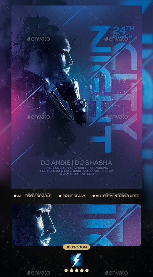 GraphicRiver - City Night Party Flyer 22996803