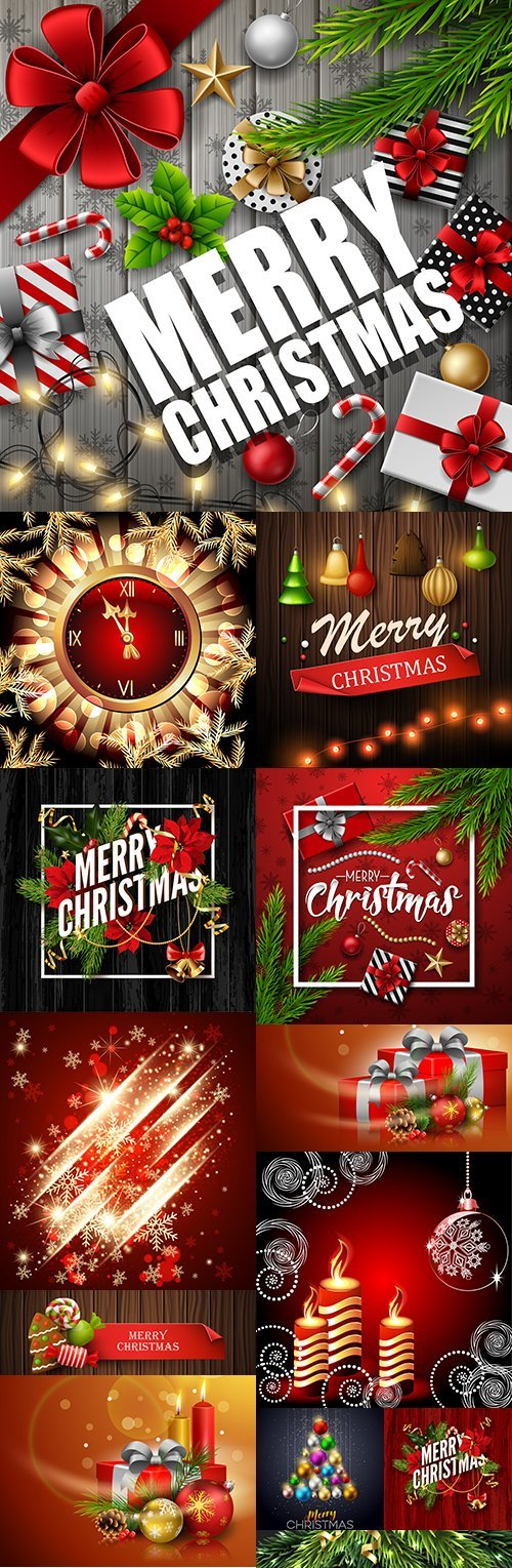 Merry Christmas and New Year decorative design elements 9