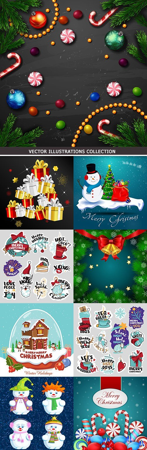 Merry Christmas and New Year decorative design elements 10