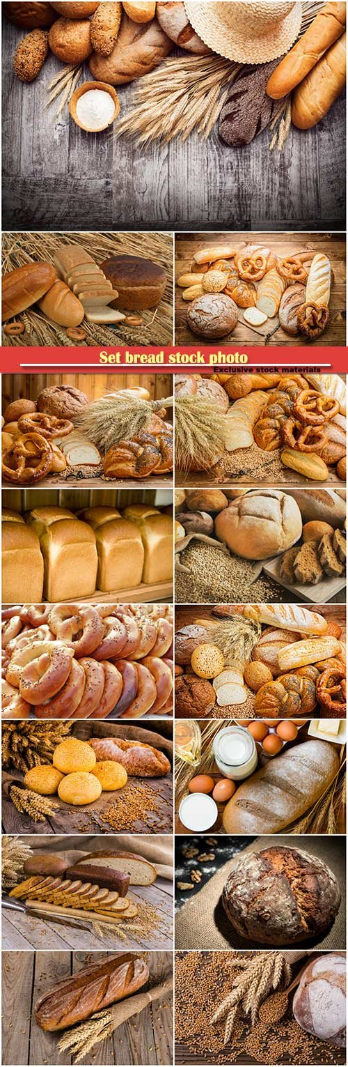 Set bread stock photo