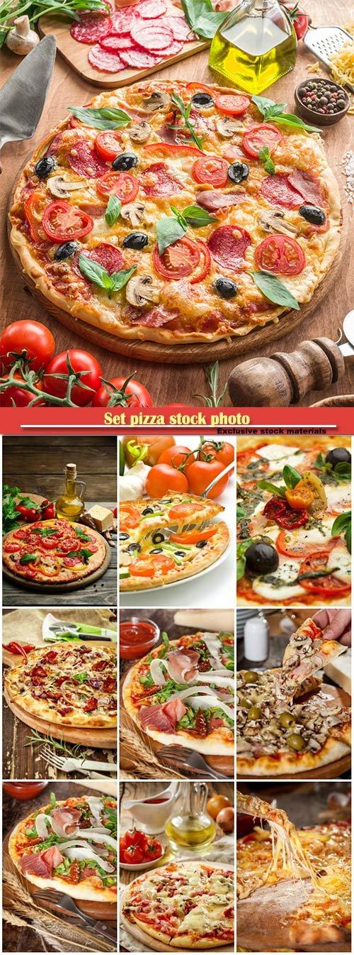 Set pizza stock photo