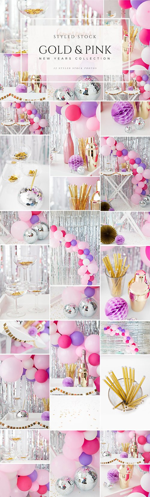 CM - Gold & Pink New Years Party Stock Photos