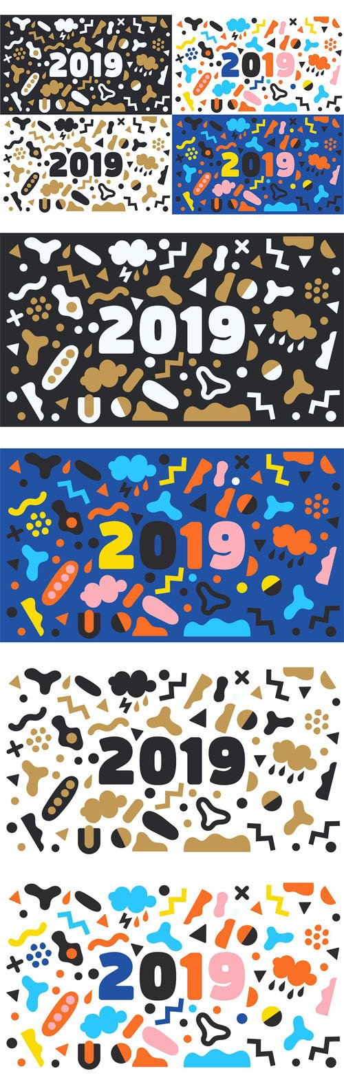 CM - 4 New Year 2019 Vector Background Set