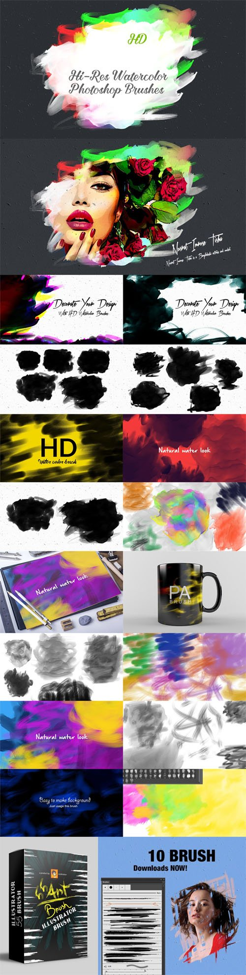35+ HD Watercolor Photoshop Brushes [ABR] + Illustrator Art