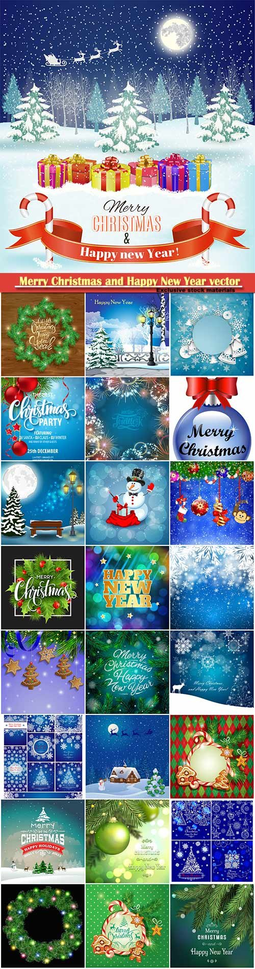Merry Christmas and Happy New Year vector design # 25