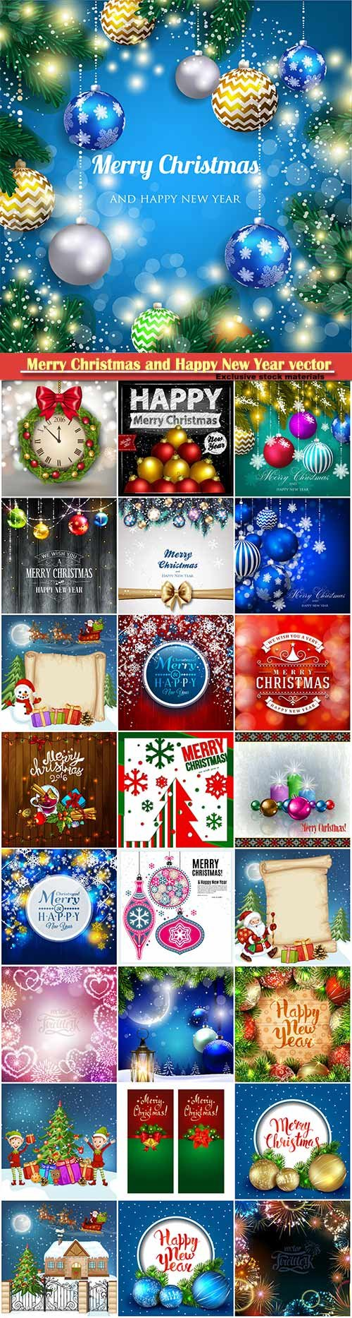 Merry Christmas and Happy New Year vector design # 21