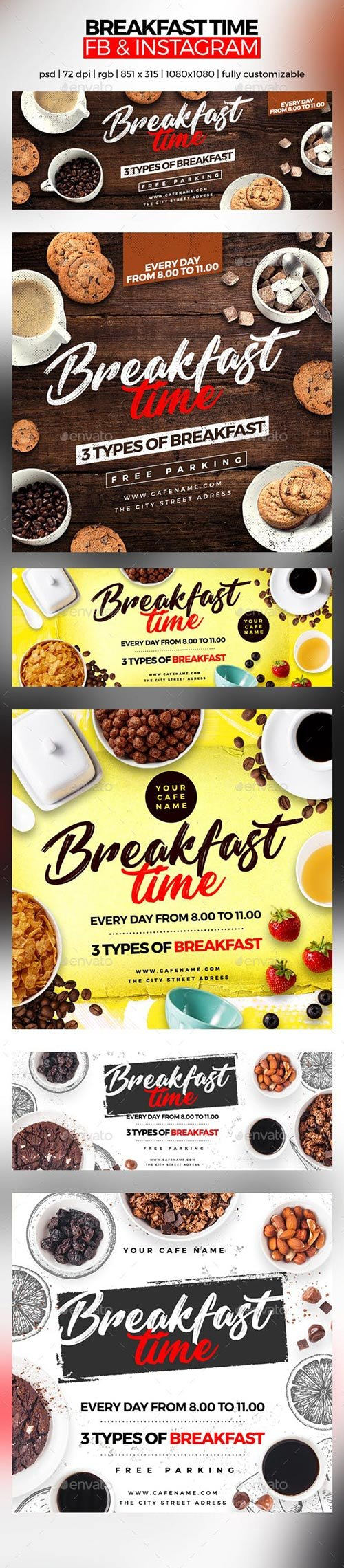 GraphicRiver - Breakfast Time Facebook Cover and Instagram 22672687