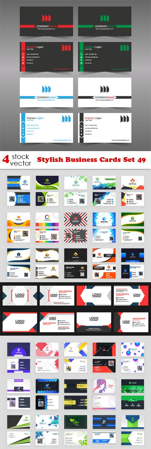 Vectors - Stylish Business Cards Set 49