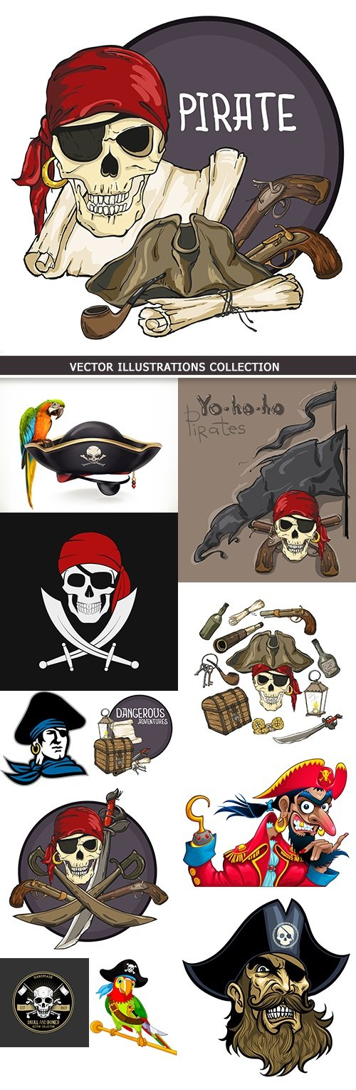 Caribbean pirates cartoon vector illustration collection