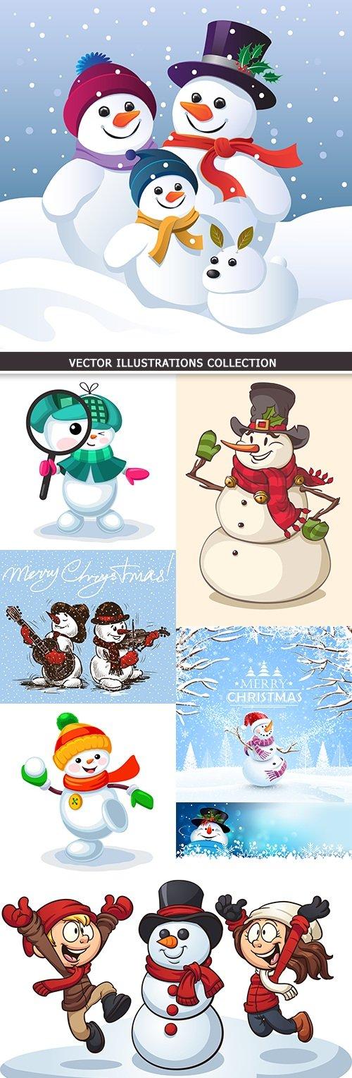 Christmas cheerful snowman cartoon collection illustration