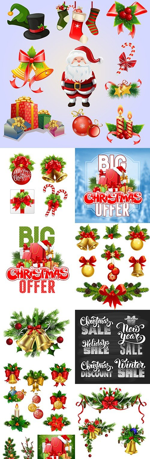 Merry Christmas sale special and decorative design elements