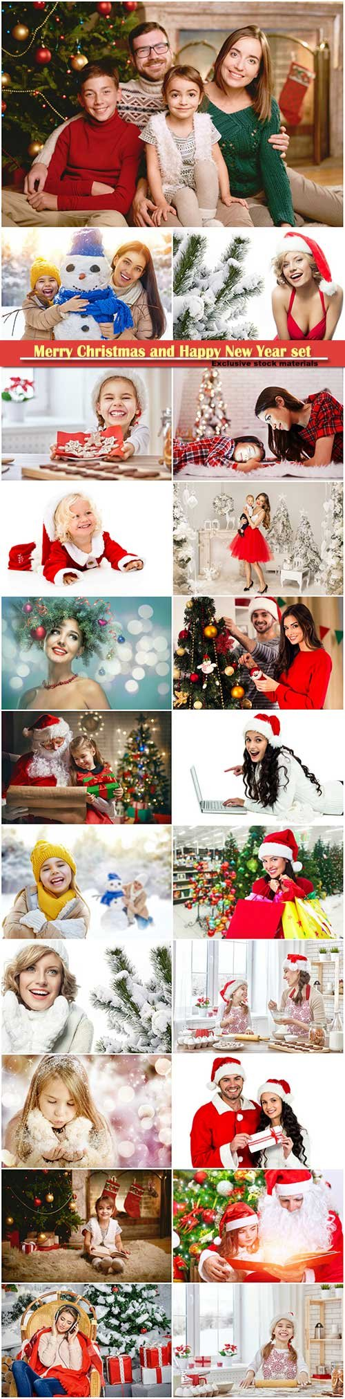 Merry Christmas and Happy New Year stock set