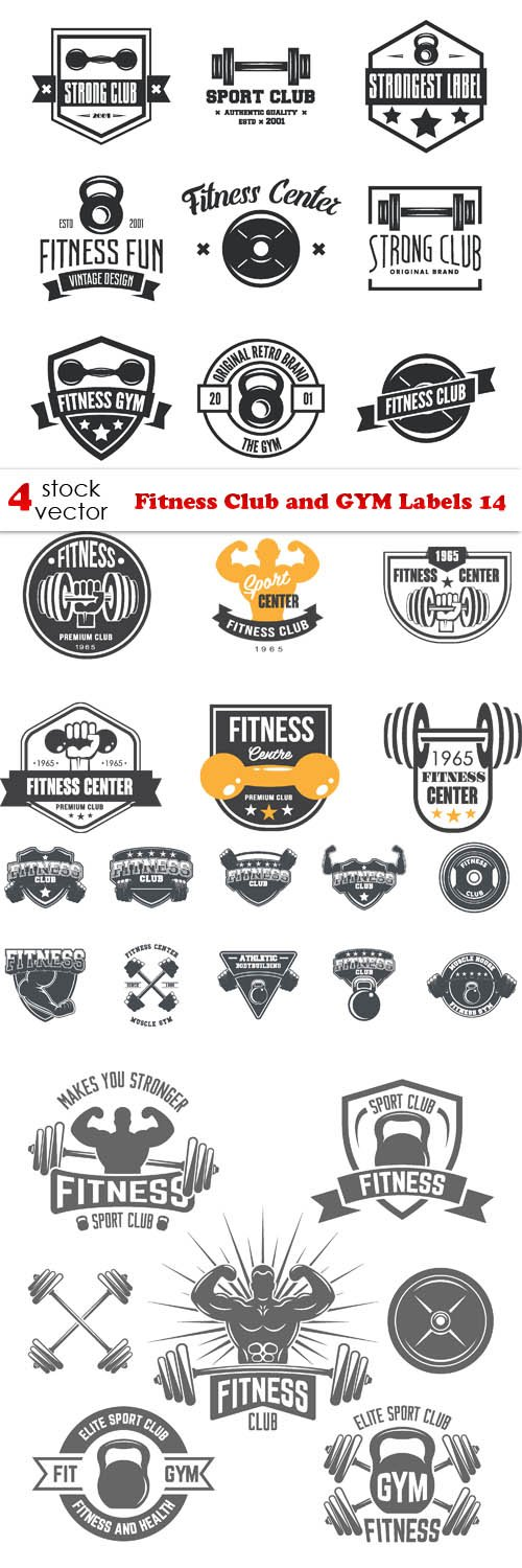 Vectors - Fitness Club and GYM Labels 14