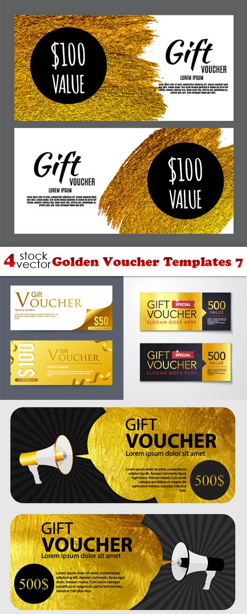 Vectors - Golden Voucher Templates 7