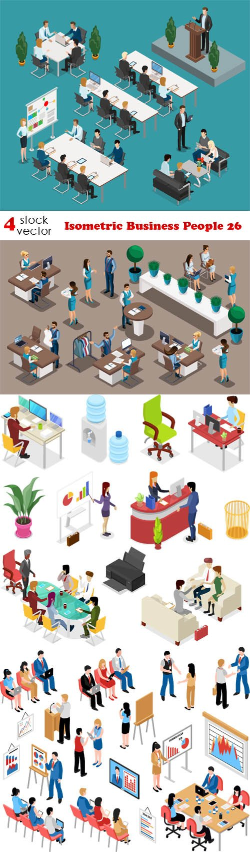 Vectors - Isometric Business People 26