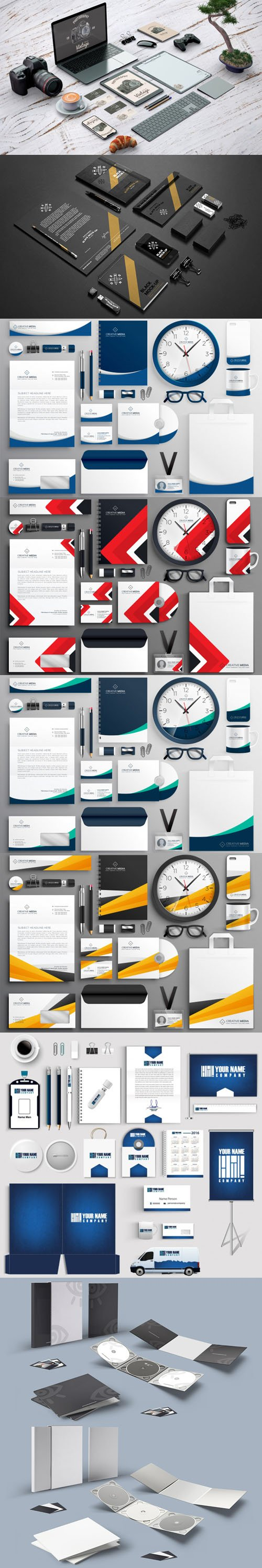 8 Realistic Business Branding Stationery Collection [EPS/PSD]