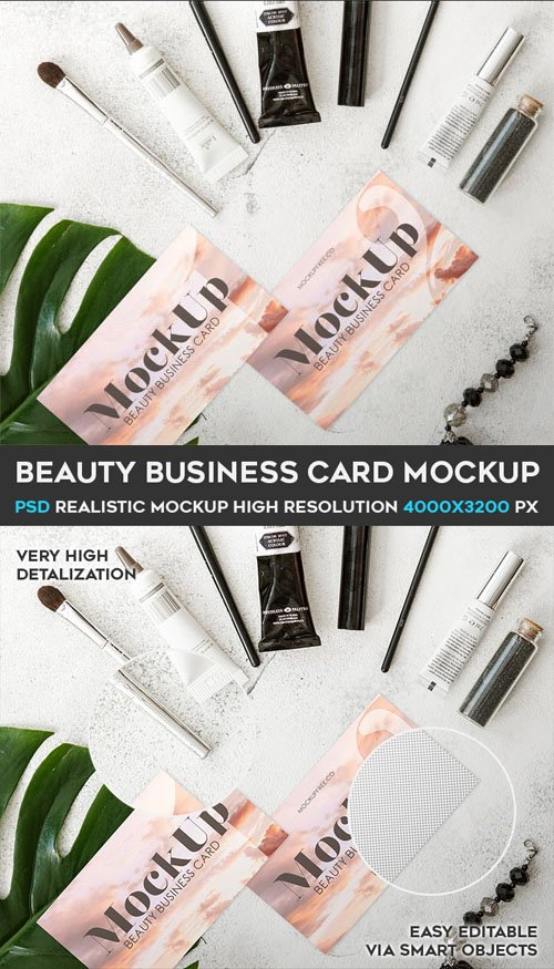 Beauty Business Card PSD Mockup