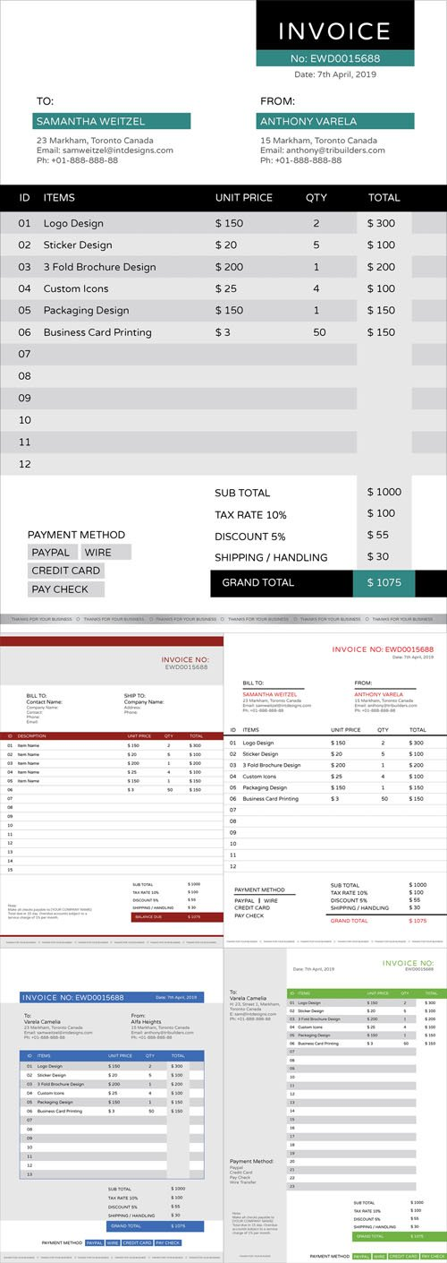 5 Business Invoice Design Templates in Vector