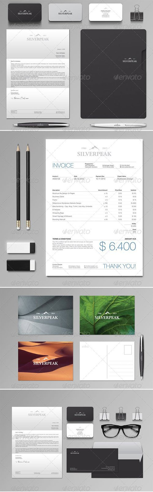 GraphicRiver - Silverpeak Stationery Set & Invoice Template 6208533