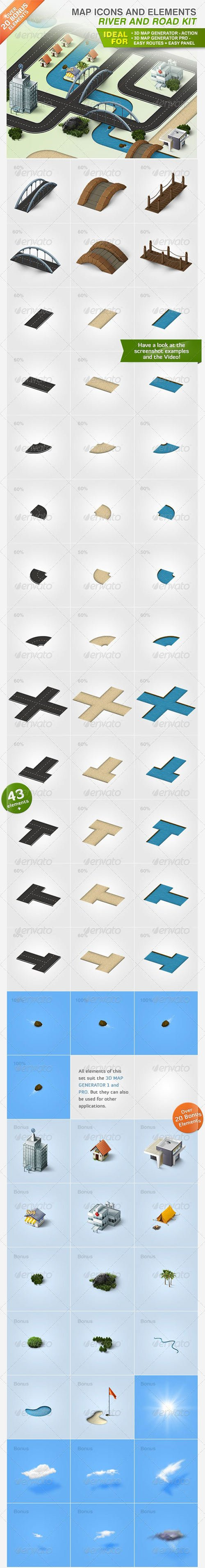GraphicRiver - Map Icons and Elements - River and Road Kit 3786776