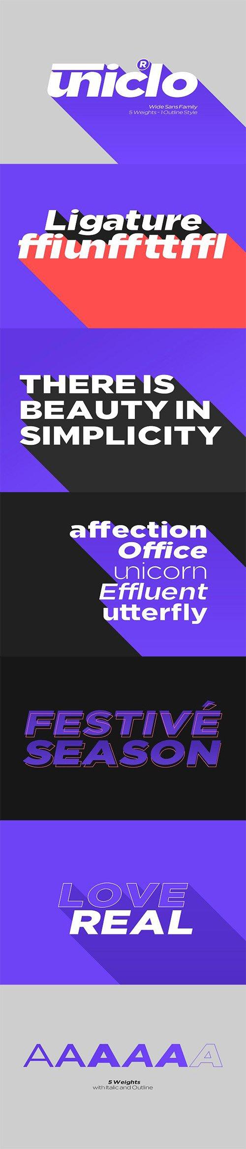 Uniclo Wide Sans Family Font 3319707