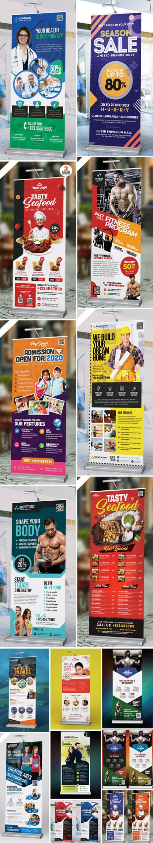 Multipurpose Advertising Roll-Up Banners PSD Collection